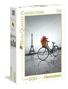 Puzzle Clementoni 500 pezzi Parigi Torre Eiffel bicicletta fiori cm 36x49