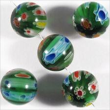 Lot de 10 Perles en Verre Millefiori 10mm Vert