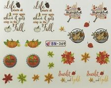 Nail Art Water Decals Thanksgiving Fall Leaves Autumn Turkey Pumpkin BN369