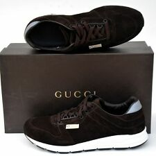 GUCCI New sz 9 G - US 9.5 Authentic Designer Logo Mens Sneakers Shoes brown