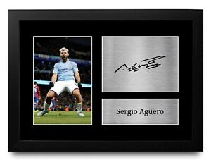 Sergio Aguero Signed A4 Framed Printed Autograph Manchester Man City Print Gift