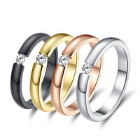 Size 5-13 Fashion Women Men Stainless Steel Crystal CZ Wedding Band Ring Jewelry