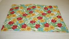 Floral Rainbow Stripe Pillow Sham Red Yellow Blue Tie Back Quilted RN118307 1
