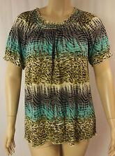 BeMe Multi Animal Pint Burnout Short Sleeve Tunic Top Plus Size S 16 BNWT # C46
