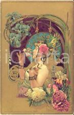 1900 ca ART NOUVEAU Artist HINGRE - Parfumerie VIOLET - Glittered postcard