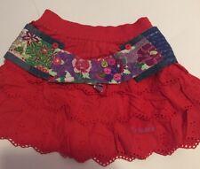 NEW DESIGUAL GIRLS Fancy Red Eyelet Skirts ,Size 7/8 Reg $78