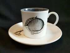 Suzie Cooper Apple Cup & Saucer Black Fruit Graphics with Grey