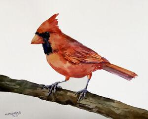 10X8 NOTHERN CARDINAL BIRD ON THE BRANCH,BIRD ART  ORIGINAL WATERCOLOR PAINTING