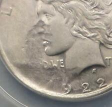 1922 ANACS AU 58 MAJOR Struck Thru Peace Silver Dollar, Mint Error Date & Motto