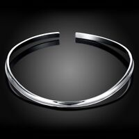 Silver C Shaped Neckwire Choker Collar Necklace in 18K White Gold Plated ITALY