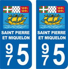 Département 975 sticker 2 autocollants style immatriculation AUTO  SAINT PIERRE
