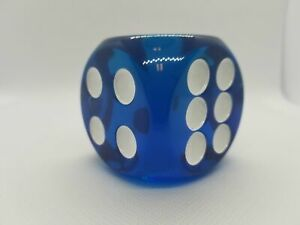 Clear Blue 50mm d6 with White Pips Jumbo Pipped Dice