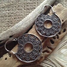 Brass Mandala Earrings Silver Plated Indian Ear Weights White Brass 4cm NEW