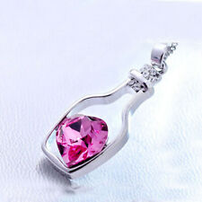 Bottle Pendant Necklace PINK Heart Crystal Effect Pendant Necklace UK POSTAGE