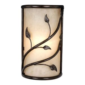 Vaxcel Vine Wall Sconce Oil Shale w/ Amber Flake Glass - WS38865OL