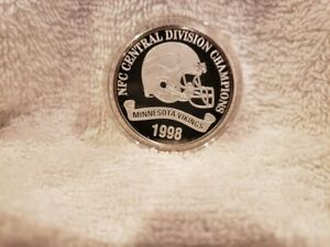 Minnesota Vikings 1998 Central Div Champs Highland Mint 1 Troy Ounce SILVER Coin
