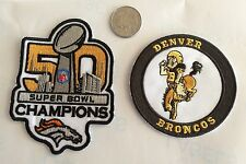 """NFL DENVER BRONCOS LOT OF (2) PATCHES  4""""x3"""" & 3""""x3"""" AWESOME!!"""