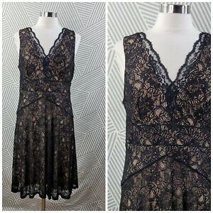 Simply Liliana size 12 Black Lace Dress Stretch cocktail Tulle Chiffon Layered