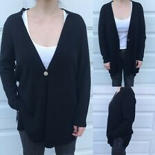Chico's 2p One Button Black Cardigan Sweater Lightweight Classic Workwear Casual