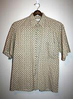 Mens VTG PIERRE CARDIN Button Down Short Sleeve Green Ugly Shirt Large L