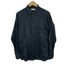 Uniqlo Mens Button Up Shirt Size Small 100% Linen Black Long Sleeve