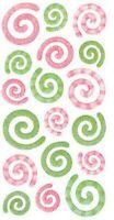 GREEN PINK SWIRLS Vellum - Sticko Stickopotamus Scrapbooking Craft Sticker
