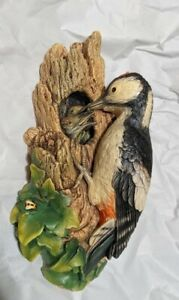 Woodpeckers, Bossons Chalk Ware, England, Hand Painted Figure