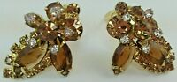 Vintage Gold Tone Amber Color Prong Set Rhinestone Clip On Earrings