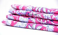 Indian Floral Print Pink Fabric Natural Vegetable Dye Running Fabric 2.5 Yards