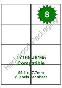 8 Labels per Sheet x 50 Sheets White Matt Copier Inkjet Laser