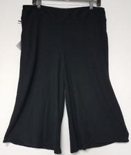 NEW Womens Ava & Viv Plus Size X Black Textured Knit Wide Leg Capri Crop Pants