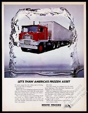 1969 White Motor semi truck tractor trailer photo vintage print ad