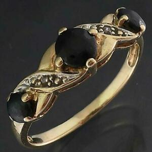 Well loved Solid 9k Yellow GOLD 3 BLUE SAPPHIRE & 2 Diamond RING Worn Gems Sz O