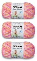 Yarnspirations Bernat Baby Blanket Yarn 3-Pack Peachy Knitting 72 yd/Roll CHOP