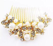 USA Hair Comb Rhinestone Crystal Bridal wedding Vintage Party Gold Pearl 01