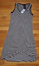 NWT Womens DESIGN HISTORY Black Beige Stripes Hi Lo Sleeveless Dress Small $107