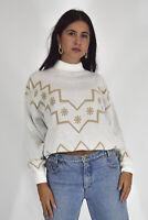 VINTAGE Jumper Maglione Collo Alto Bianco In Acrilico TG 44/46 -L Donna Woman
