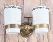 Antique Brass Wall Mount Dual Ceramic Cup Toothbrush Holder Bathroom Accessories