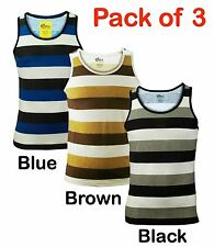 Pack of 3 Men's Stripe Print Poly cotton Sport Gym Sleeveless Summer Vest