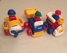LOT Tomy Push'N Go Train, Airplane, Dump Truck ~ Vintage 1991 Collectors Toy