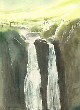 "Speaks Mill Falls North Devon original watercolour painting,11""x15"" realism"