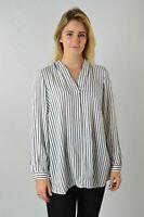 YESSICA White Black Fine Stripe Collar V Neck Tunic Blouse Loose Fit Empire Line