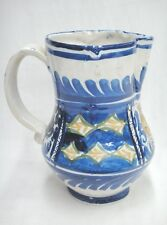 """Majolica Pottery Pitcher 9"""" Cobalt Blue on White Portugal Chips Very Old"""