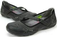 Ahnu Gracie Pro Mary Jane Flat, Women Sz 6.5 Black Leather Floral Sandal F80143