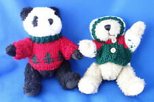 "lot of 2 Hugfun Int'l  jointed 8"" Teddy Bear Christmas Ornament"