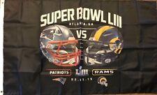 SUPER BOWL 53 LIII New England Patriots L.A. Rams Flag 3x5 Banner Atlanta NFL