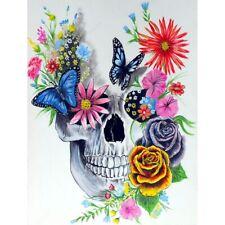 5D Full Drill  Diamond Painting Butterfly Skull Flower Kits Art Home Decor