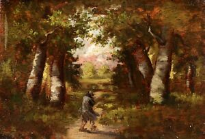 19th CENTURY FRENCH BARBIZON OIL ON PANEL - FIGURE IN FOREST LANDSCAPE