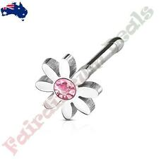 316L Surgical Steel Nose Stud Bone with Pink Centered Crystal Daisy Top