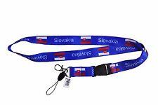 SLOVAKIA COUNTRY FLAG BLUE LANYARD KEYCHAIN PASSHOLDER ..NEW